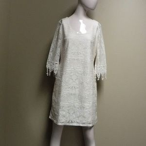 VANITY Cream Colored Lace Dress Size Lrg NWT